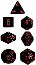 Black With Red Opaque 7 Die Set