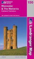 Worcester & the Malverns, Evesham & Tewkesbury 1 : 50 000