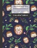 Composition Notebook: Cute Little Hedgehogs and Leaves College Ruled Notebook for Writing Notes... for Girls, Kids, School, Students and Tea