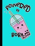 Powered by Boba: Teal Kawaii Bubble Tea Notebook