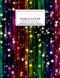 Composition Book Gold Star Covered Rainbow Wide Ruled