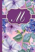 M: Monogram Initial M Notebook Purple Floral