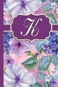K: Monogram Initial K Notebook Purple Floral
