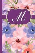 M: Monogram Initial M Notebook Watercolor Floral