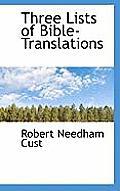 Three Lists of Bible-Translations