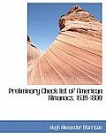 Preliminary Check List of American Almanacs, 1639-1800