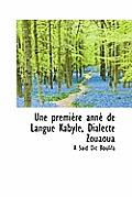 Une Premi Re Ann de Langue Kabyle, Dialecte Zouaoua