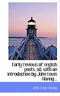 Early Reviews of English Poets, Ed. with an Introduction by John Louis Haney ..