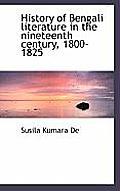 History of Bengali Literature in the Nineteenth Century, 1800-1825