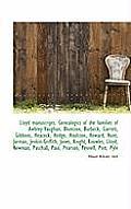 Lloyd Manuscripts. Genealogics of the Families of Awbrey-Vaughan, Blunston, Burbeck, Garrett, Gibbon