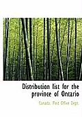 Distribution List for the Province of Ontario