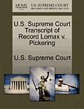 U.S. Supreme Court Transcript of Record Lomax V. Pickering