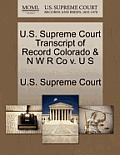 U.S. Supreme Court Transcript of Record Colorado & N W R Co V. U S