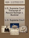 U.S. Supreme Court Transcript of Record Norman V. Buckner