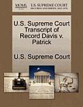 U.S. Supreme Court Transcript of Record Davis V. Patrick