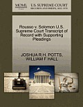 Rousso V. Solomon U.S. Supreme Court Transcript of Record with Supporting Pleadings