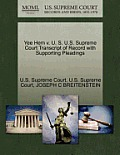 Yee Hem V. U. S. U.S. Supreme Court Transcript of Record with Supporting Pleadings