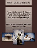 Franc-Strohmenger & Cowan V. Forchheimer U.S. Supreme Court Transcript of Record with Supporting Pleadings