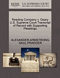 Reading Company V. Geary U.S. Supreme Court Transcript of Record with Supporting Pleadings