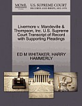 Livermore V. Mandeville & Thompson, Inc. U.S. Supreme Court Transcript of Record with Supporting Pleadings
