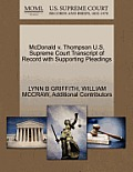 McDonald V. Thompson U.S. Supreme Court Transcript of Record with Supporting Pleadings