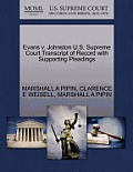 Evans V. Johnston U.S. Supreme Court Transcript of Record with Supporting Pleadings