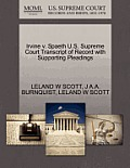 Irvine V. Spaeth U.S. Supreme Court Transcript of Record with Supporting Pleadings
