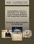 de Bardeleben Coal Co V. Macomber U.S. Supreme Court Transcript of Record with Supporting Pleadings