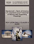 MacDonnell V. Bank of America U.S. Supreme Court Transcript of Record with Supporting Pleadings