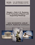 Maggio V. Zeitz U.S. Supreme Court Transcript of Record with Supporting Pleadings
