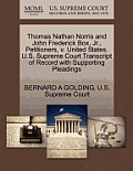 Thomas Nathan Norris and John Frederick Box, Jr., Petitioners, V. United States. U.S. Supreme Court Transcript of Record with Supporting Pleadings