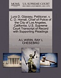 Lura D. Glassey, Petitioner, V. C. D. Horrall, Chief of Police of the City of Los Angeles, California. U.S. Supreme Court Transcript of Record with Su