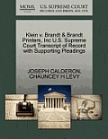 Klein V. Brandt & Brandt Printers, Inc U.S. Supreme Court Transcript of Record with Supporting Pleadings