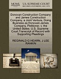 Donovan Construction Company and James Construction Company, a Joint Venture, Doing Business as Donovan-James Company, Petitioner, V. the United State