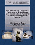 Bob and Dorothy Lee Hindes, Petitioners, V. United States. U.S. Supreme Court Transcript of Record with Supporting Pleadings