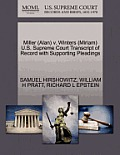 Miller (Alan) V. Winters (Miriam) U.S. Supreme Court Transcript of Record with Supporting Pleadings