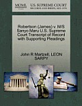 Robertson (James) V. M/S Sanyo Maru U.S. Supreme Court Transcript of Record with Supporting Pleadings