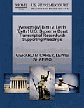 Wesson (William) V. Levin (Betty) U.S. Supreme Court Transcript of Record with Supporting Pleadings