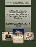 McCann (E. Michael) V. Babbitz (Sidney) U.S. Supreme Court Transcript of Record with Supporting Pleadings