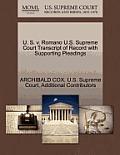 U. S. V. Romano U.S. Supreme Court Transcript of Record with Supporting Pleadings