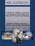 Frithjof O.M. Westby V. Jane Doe U.S. Supreme Court Transcript of Record with Supporting Pleadings