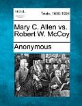 Mary C. Allen vs. Robert W. McCoy