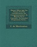 Manuel M Dico-L Gal Des Poisons PR C D de Considerations Sur L'Empoisonnement, de Moyens de Le Constater, Du Resultat D'Exp Riences Faites...