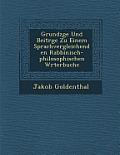 Grundz GE Und Beitr GE Zu Einem Sprachvergleichenden Rabbinisch-Philosophischen W Rterbuche