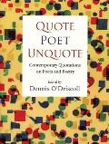 Quote Poet Unquote Contemporary Quotations on Poets & Poetry