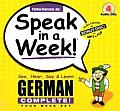 Speak in a Week German Complete See Hear Say & Learn Four Week Set With 4 Wire O Bound 240 Page Softcover Books