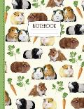 Guinea Pig Notebook: Cute Notebook for Guinea Pig Fans + Cavy Lovers With Parsley + Carrot Treats - Gifts for Girls and Boys