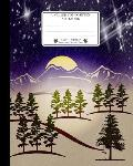 Unruled Composition Notebook. 8 X 10. 120 Pages. Winter and Christmas Time: Christmas Holiday Season Notebook. Beautiful Christmas Winter Night Landsc
