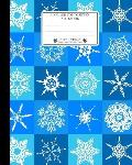 Unruled Composition Notebook. 8 X 10. 120 Pages. Winter and Christmas Time: Christmas Holiday Season Notebook. Cool Winter White Snow Crystals on Blue