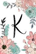 K: Monogram Initial K Composition Notebook for Women and Girls